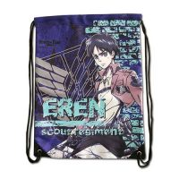 Attack on Titan Eren with Violet Background Drawstring Bag