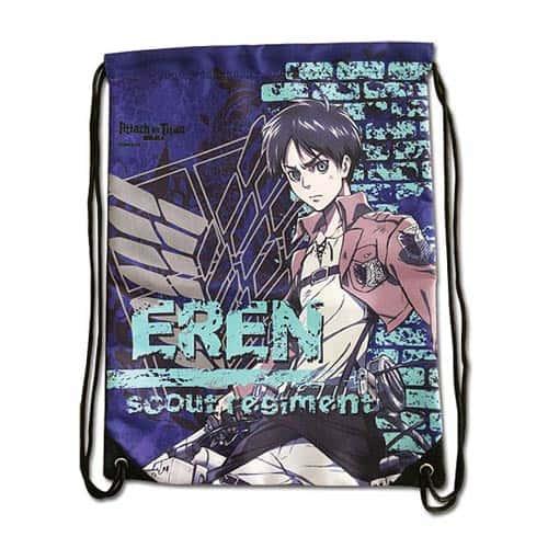 Attack on Titan Eren with Violet Background Drawstring Bag