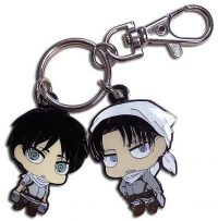 Attack on Titan Chibi Eren & Levi in Cleaning Outfit Keychain Keychains