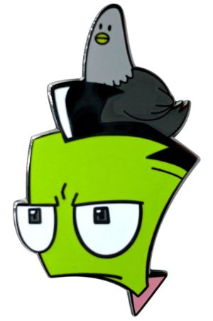 Invader Zim Pigeon on Zim's Head Enamel Pin Pins